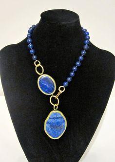 Blue Lapis Lazuli Necklace por VelaInTheSky en Etsy