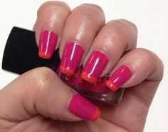 Pink and orange French tip nails