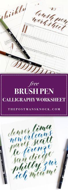 Free Brush Pen Calligraphy Worksheet #ImproveYourHandWriting