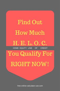 This free online HELOC Calculator will calculate the amount of theHome Equity Line of Credityou may qualify for based on the appraised value of your property, your current outstanding mortgages against the property, and the loan to value the lender is willing to offer you.