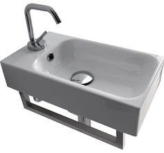 """Buy the WS Bath Collections Cento 3537V White Direct. Shop for the WS Bath Collections Cento 3537V White 9-3/4"""" Ceramic Wall Mounted / Vessel Bathroom Sink With 1 Hole Drilled and Overflow and save."""