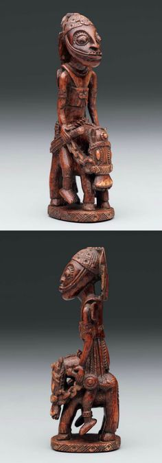 Africa | Horse and rider figure ~ elesin Shango ~ from the Yoruba people of Owo, Nigeria | Ivory | 17th to 18th century