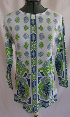 Vintage 70s Deadstock Psychedelic Geometric Tunic Top Mini Dress