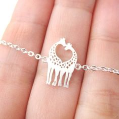 Mother and Baby Giraffe Shaped Animal Pendant Necklace in Silver � DOTOLY � The Animal Wrap Rings and Jewelry Store