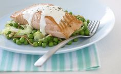 Salmon with minty pea salad