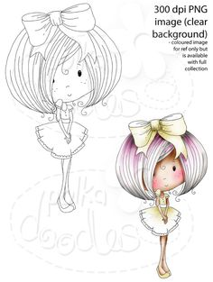 Winnie Sugar Sprinkles Springtime - Miss Kelly Von Sweets - Printable Digital Stamp Download - Polkadoodles Ltd