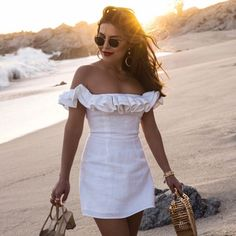 Sona Gasparian wears a little white dress that's perfect for summer while on vacation in Cabo Edgy Dress, The Dress, Casual Dresses, Fashion Dresses, Dresses Dresses, Fashion Clothes, White Dress Summer, Little White Dresses, Summer Outfits