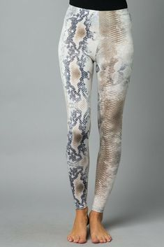 795cc149d0 NEW GRAY NAVY TAUPE SNAKESKIN PRINT BRUSHED LEGGINGS SIZE S
