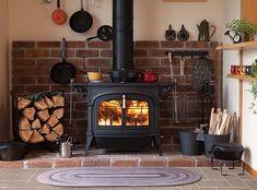 54 Super Ideas for wood burning stove decor basements Wood Stove Surround, Wood Stove Hearth, Brick Hearth, Wood Burner, Home Fireplace, Fireplace Design, Christmas Fireplace, Fireplace Ideas, Christmas Decor
