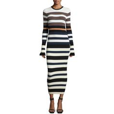 Opening Ceremony Long-Sleeve Striped Maxi Dress (1.515 BRL) ❤ liked on Polyvore featuring dresses, harvest white mul, white day dress, stripe dresses, long sleeve striped dress, maxi dresses and striped dress