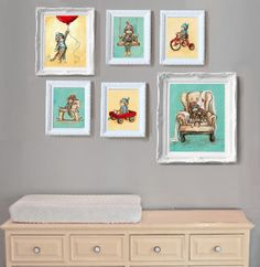 Sock Monkey Nursery Gallery Wall by Jenny Dale Designs www.jennydaledesigns.etsy.com; www.ibubbi.com/JennyDaleDesigns