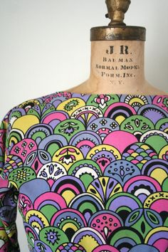 vintage dress 1960s PETER MAX inspired pop art by capricorne, $54.00