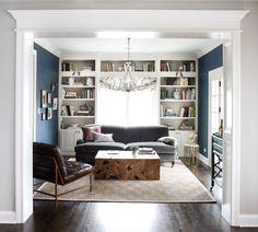 bookshelves around a window