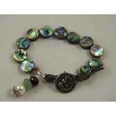 Boho Chic Knotted Sundance Beaded Leather Wrap Bracelet- Abalone Shell Coin Beads #bracelets #fashion #jewelry  9thelm.com