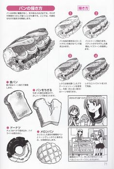 Drawing Practice, Drawing Skills, Drawing Lessons, Manga Drawing Tutorials, Manga Tutorial, Figure Drawing Reference, Amazing Drawings, Food Drawing, Food Illustrations