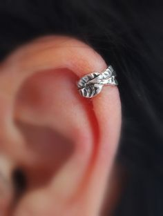 But I wouldn't want the pierced one, obvs - Ear Cuff Cartilage Leaf sterling silver pierced by LStellaJewelry, $16.00