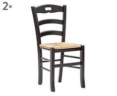2 Chaises ELVIRA bois de hêtre et paille, noir et naturel - L45