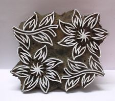 INDIAN WOODEN HAND CARVED TEXTILE PRINTING ON FABRIC BLOCK STAMP FLOWER CARVING