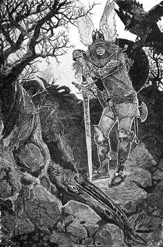 "Howard Pyle (1853-1911),The Awakening of Brunhild, Illustration pour l'ouvrage de James Baldwin, ""The Story of Siegfried"" - 1882"