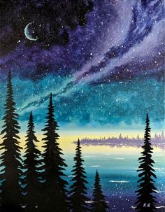 Galaxy Sky - jokersjuly - Twilight Galaxy Sky -Twilight Galaxy Sky - jokersjuly - Twilight Galaxy Sky - Are you looking for some Easy Painting for home Decor? The art of starry sky painting is very popular in recent years Calendar Landscape Art, Landscape Paintings, Acrylic Painting Canvas, Canvas Art, Beach Canvas, Diy Canvas, Painting Art, Body Painting, Night Sky Painting