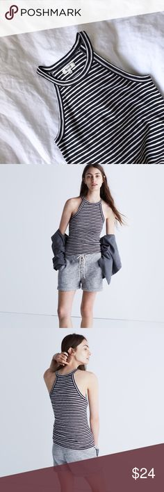 """Madewell timeoff tank top in midvale stripe Basically new with no tag. Inspired by the Japanese concept of """"one-mile wear,"""" Mile(s) by Madewell is a collection for all the stuff you do close to home—the post-workout hangs, the neighborhood coffee strolls, the couch marathons. Made of soft fabrics in sleek shapes, it's your new weekend-starts-now uniform. Take this slim, sexy tank—it has a high neckline and cutaway armholes for a low-key (but very welcome) athletic vibe. Fitted…"""