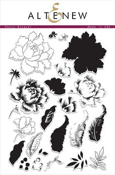 Altenew - Clear Acrylic Stamps - Peony Bouquet