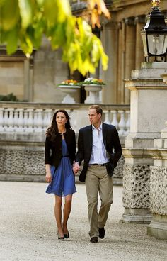 Prince William and Kate the day after their wedding, strolling on the grounds of Buckingham Palace. Their actual honeymoon took place later.