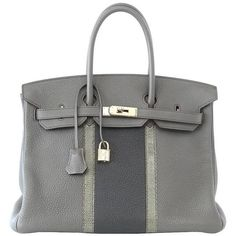 HERMES BIRKIN 35 Bag Limited Edition Club Etain Gray Permabrass rare ($22,100) ❤ liked on Polyvore featuring bags, handbags, grey handbags, gray bag, hermes bag, hermes handbags and grey purse