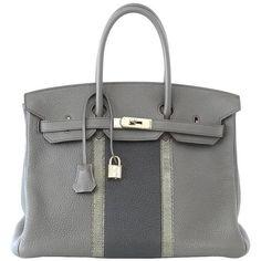 HERMES BIRKIN 35 Bag Limited Edition Club Etain Gray Permabrass rare (69.725 BRL) ❤ liked on Polyvore featuring bags, handbags, hermes purse, hermes handbags, grey bag, gray handbags and hermès