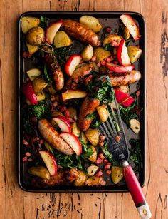 We love this autumnal traybake recipe with sausage and apples. A British classic that's full of simple, earthy flavours.