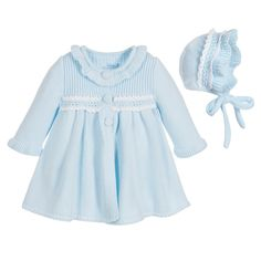 Foque Baby Girls Blue Knitted Coat with Bonnet at Childrensalon.com
