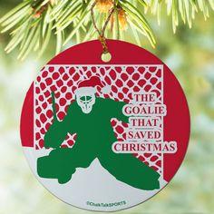 Hockey Porcelain Ornament Goalie That Saved Christmas | Hockey Ornaments | Hockey Christmas Decor