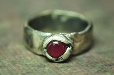 Authentic Natural Red Ruby Fine Silver Ring Size 7.5. $120.00, via Etsy.