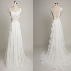 V-back Cap Sleeve Long Sheath White Lace Wedding Party Dresses, Chiffon Bridal Gown, WD0091