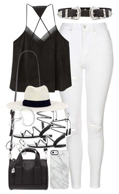 """""""Outfit with white jeans for summer"""" by ferned on Polyvore featuring Topshop, MANGO, B-Low the Belt, Forever 21, Anine Bing, Hat Attack, Uncommon and Monica Vinader"""