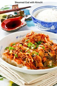 Steamed Cod with Kimchi - healthy, moist, and delicious. The kimchi combines beautifully with the cod to give it a slightly spicy and tangy flavor.   RotiNRice.com