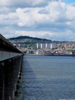 View of Dundee City Centre over River Tay (across Tay Road Bridge), Scotland