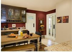 Rich Red Walls Create An Elegant Yet Cozy Kitchen Benjamin Moore Walls Tea Accent Wall And Ceiling Moccasin Trim Acadia White
