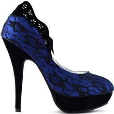 Show Story Glam Royal Blue Flower Cut-out Heels For Women,LF30443BU38,7US,Blue