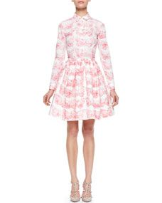 RED Valentino Long-Sleeve Butterfly Poplin Blouse & Skirt