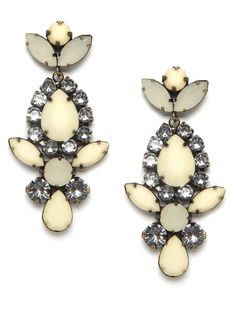 Take a turn toward turn-of-the-century glamour with these statement drop earrings. They're all-out glitzy, in the most posh way, with a mix of oversized crystals and faceted ivory gemstones. $26