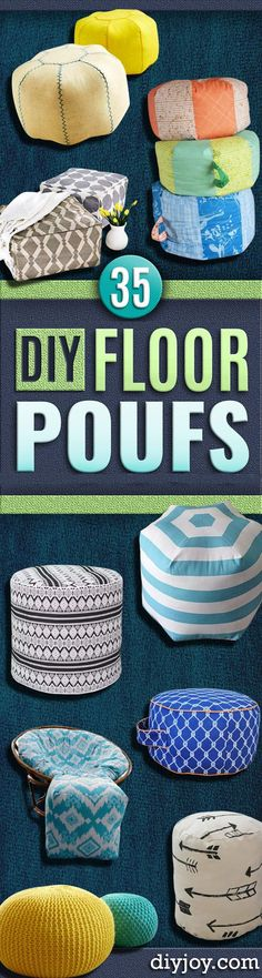 "Fabulous DIY Poufs and Ottomans - Step by Step Tutorials and Easy Patterns for Cool Home Decor. Crochet, No Sew, Leather, Moroccan Boho, Knit and Fun Fur Projects and Chair Ideas <a href=""http://diyjoy.com/diy-floor-poufs"" rel=""nofollow"" target=""_blank"">diyjoy.com/...</a>"