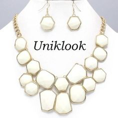 Chunky Gold & White Bib Statement Fashion Jewelry DESIGN Necklace Earrings Set