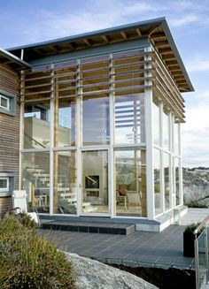 Hopefully no nosy neighbors. If you lived in the mountains, wake up to this every day, mmm, yes please. Wooden House, Less Is More, Interior And Exterior, Seaside, My House, Blinds, To Go, House Design, Architecture