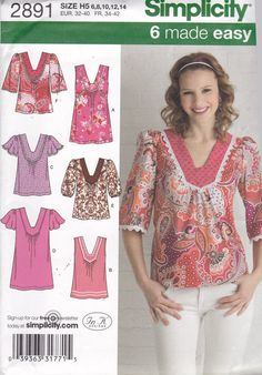Easy Tunic or Top Pattern Simplicity 2891 Flutter or Puff Sleeve Sleeveless Size 6 8 10 12 14 UNCUT Simplicity Sewing Patterns, Mccalls Patterns, Dress Patterns, Over 50 Womens Fashion, Sewing For Beginners, Little Girl Dresses, Top Pattern, Sewing Clothes, Dressmaking