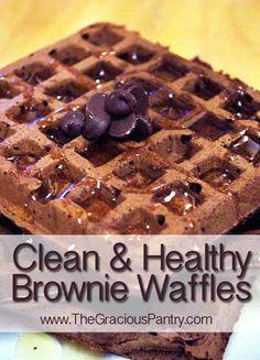 Clean eating brownie waffles- only 120 calories/waffle. Clean Eating Breakfast, What's For Breakfast, Breakfast Recipes, Eating Clean, Healthy Eating, Breakfast Pancakes, Dinner Recipes, Real Food Recipes, Cooking Recipes