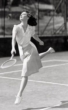 """""""Who plays tennis like this? Ava Gardner , played tennis like this in 1941. """""""