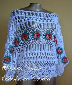 blusa de croche de grampo com flores - Pesquisa Google