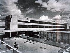 Karl Marx College; School; Creation date: 1932; architect: André Lurçat. Creation location: Villejuif, France. Lantern Slide Collection - France