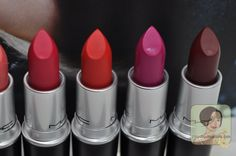 #MAC Retro Matte Lipsticks in All Fired Up, Dangerous, Flat Out Fabulous, Fixed on Drama